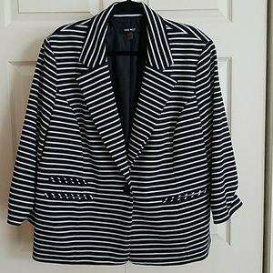 Nine West Black/White Striped 3/4 sleeve blazer